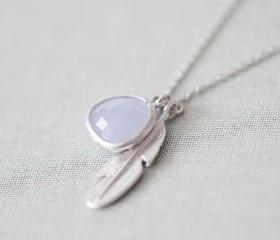 Pale Alice Blue glass with feather pendant necklace