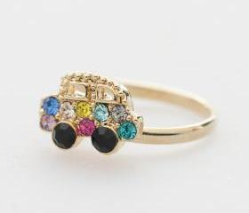Colorful Crystals car adjustable ring in gold