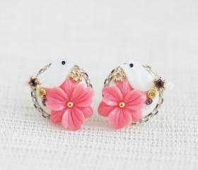 Coral Pink flower bird stud earrings