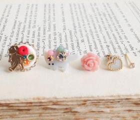 Set of 5 flower garden stud earrings