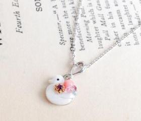 Cute duck Silver plated chain Necklace