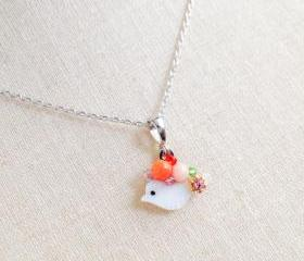 Cute Cat Silver plated chain Necklace