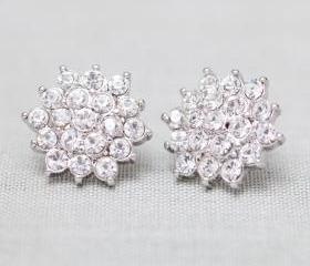 Sparkle Rhinestone post earrings in silver
