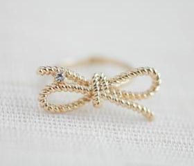 Gold Twisted bow ring, Infinity ring, Twisted rope ring, Forget me knot ring