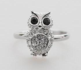 SILVER Crystals Owl adjustable ring