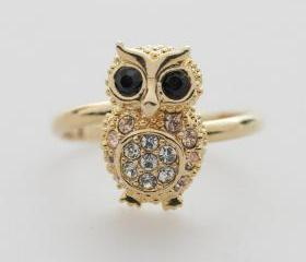 SALE-GOLD Crystals Owl adjustable ring