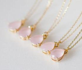 bridesmaid gifts - Set of 5 - Pale pink teardrop glass gold chain necklaces