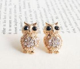 GOLD Crystals Owl stud earrings