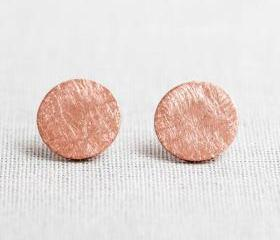 Brushed Circle stud Earrings in pink