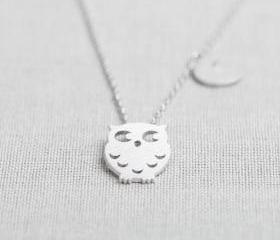 Owl and crescent necklace in silver
