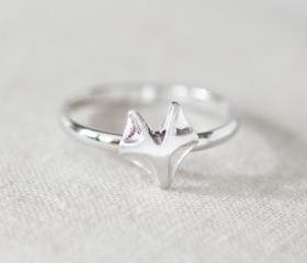 Cute fox adjustable ring in silver