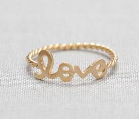 US 7.5 Size-LOVE word ring in Gold