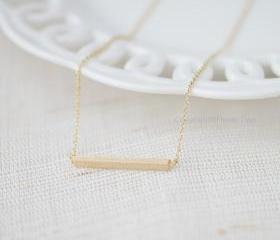 Matt gold Bar Necklace