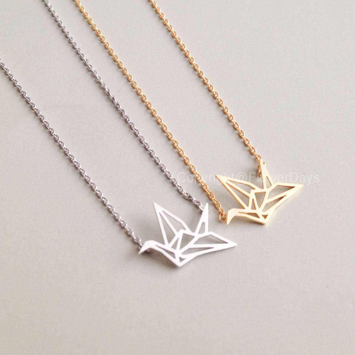 Origami Crane Necklace In Gold on Luulla - photo#1