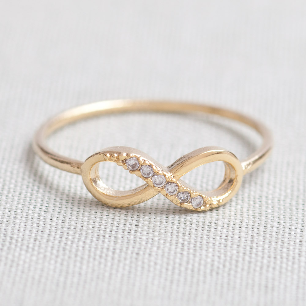 Us 5us 10 Sizedelicate Infinity Ring In Gold