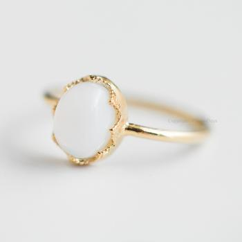 moon stone ring in gold plated
