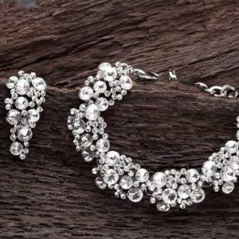 HEATHER-Swarovski Crystal Silver Plated Bracelet,bridal,clear color,wedding